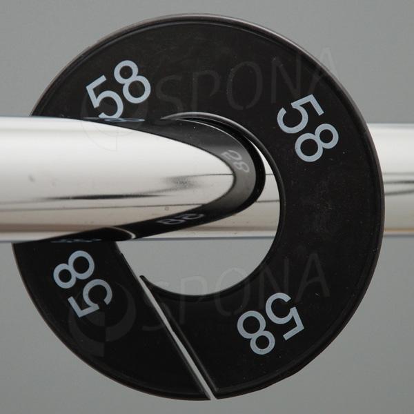 Velikostní kruhy 58 černé, bílé písmo