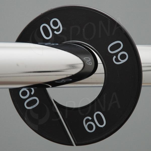 Velikostní kruhy 60 černé, bílé písmo