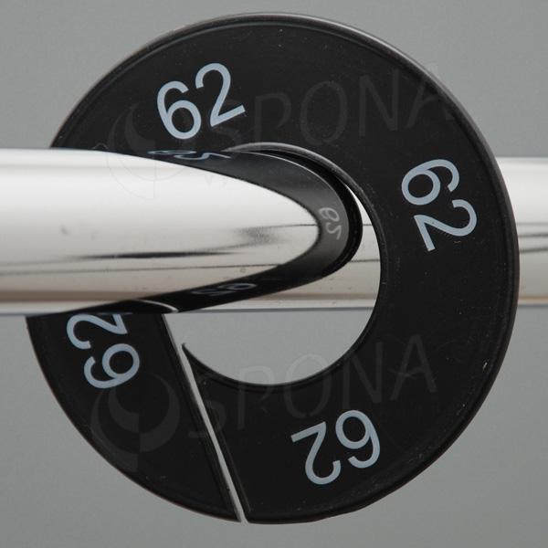 Velikostní kruhy 62 černé, bílé písmo