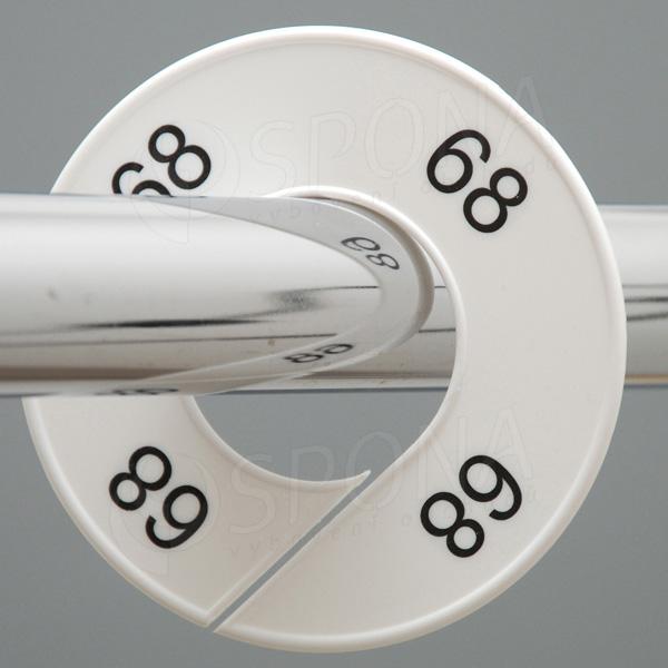 Velikostní kruhy 68 bílé, černé písmo
