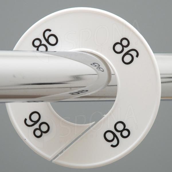 Velikostní kruhy 86 bílé, černé písmo
