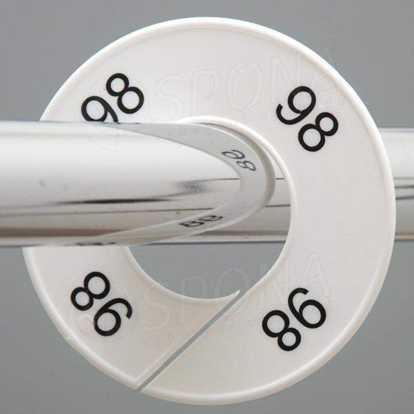 Velikostní kruhy 98 bílé, černé písmo