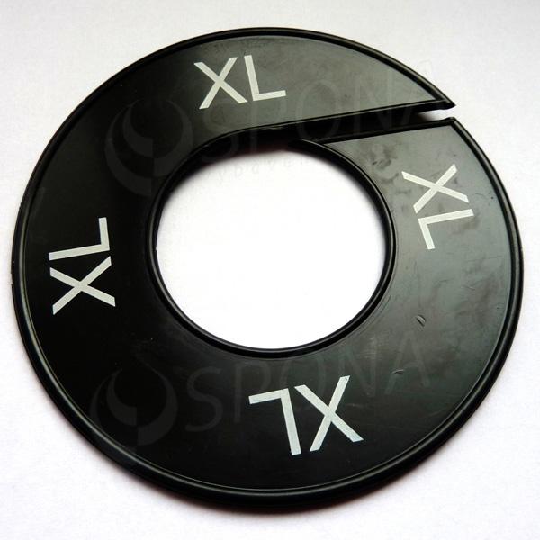 Velikostní kruhy XL černé, bílé písmo