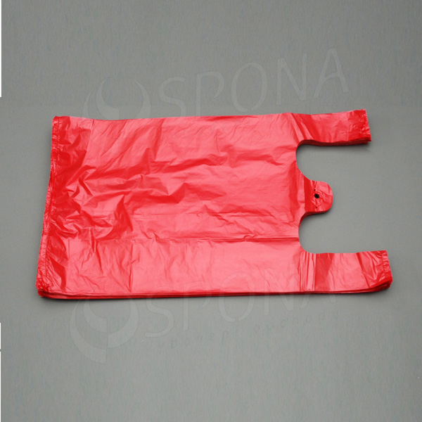Mikrotenová taška HDPE, nosnost 10 kg, červená, 30 + 16 x 50 cm, 100 ks