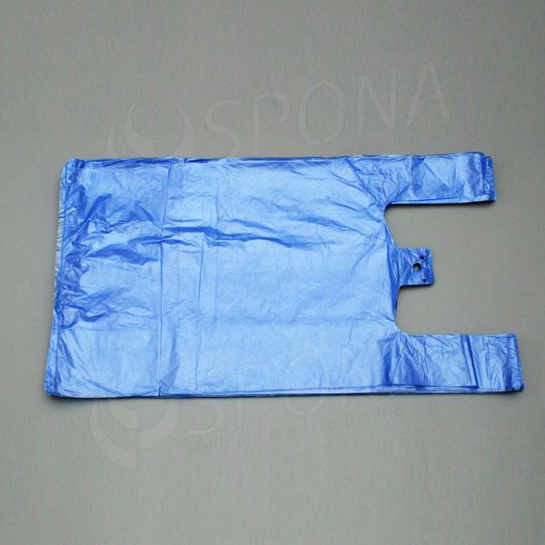 Mikrotenová taška HDPE, nosnost 10 kg, modrá, 30 + 16 x 50 cm, 100 ks
