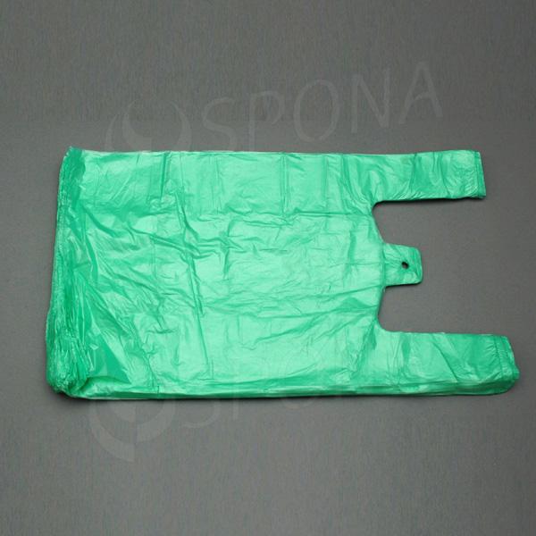 Mikrotenová taška HDPE, nosnost 10 kg, zelená, 30 + 16 x 50 cm, 100 ks