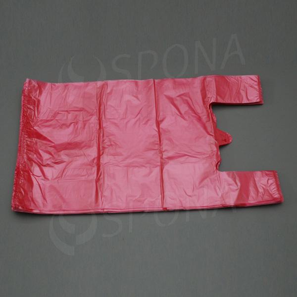 Mikrotenová taška HDPE, nosnost 12 kg, červená, 33 + 16 x 60 cm, 100 ks