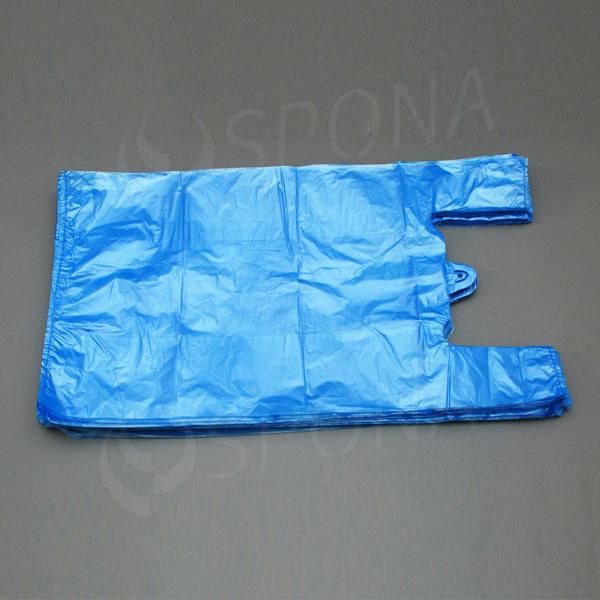 Mikrotenová taška HDPE, nosnost 12 kg, modrá, 33 + 16 x 60 cm, 100 ks
