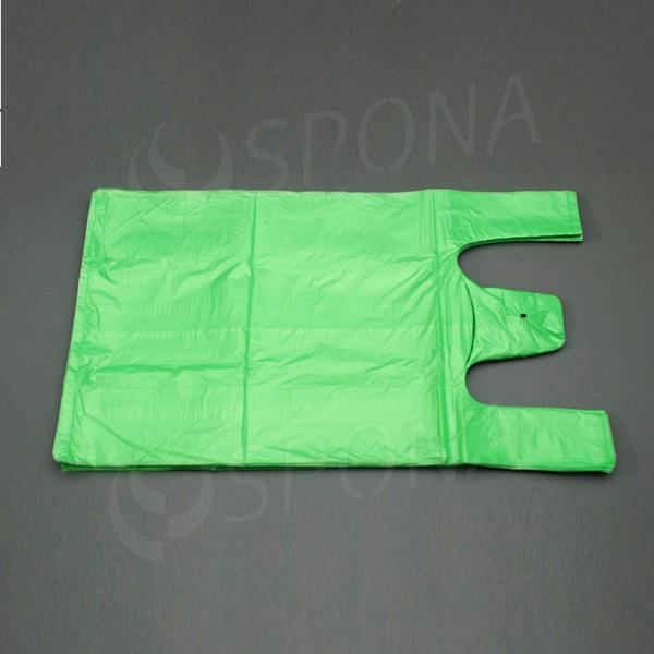Mikrotenová taška HDPE, nosnost 12 kg, zelená, 33 + 16 x 60 cm, 100 ks