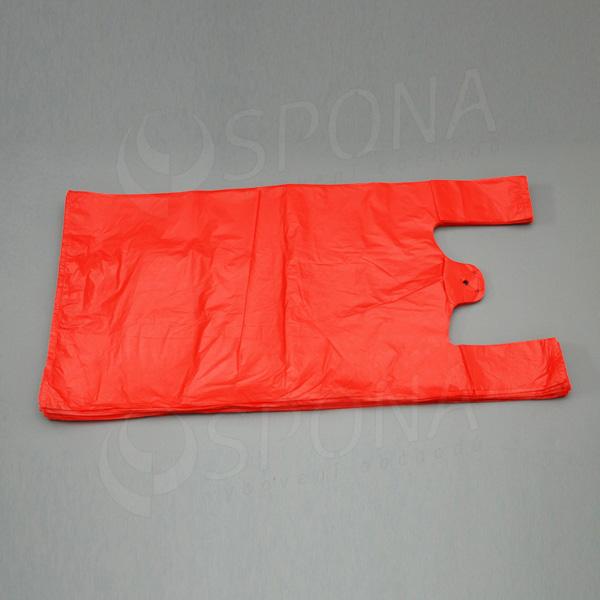 Mikrotenová taška HDPE, nosnost 15 kg, červená, 33 + 20 x 69 cm, 100 ks