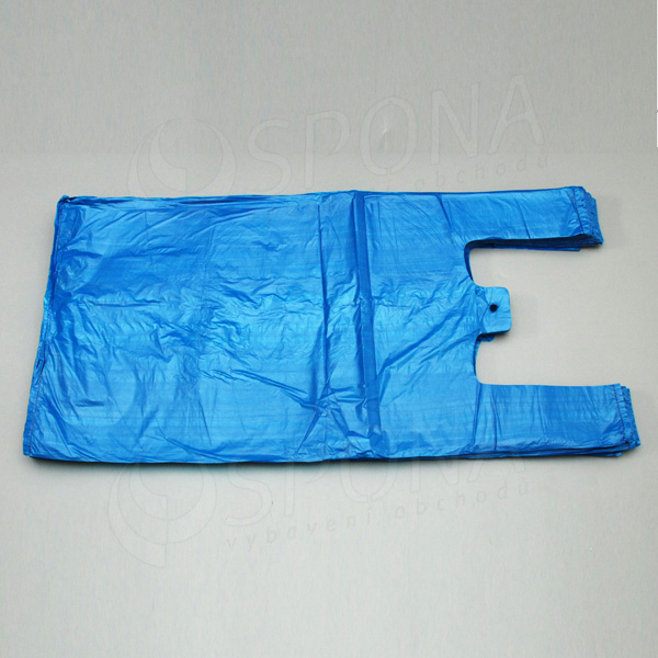Mikrotenová taška HDPE, nosnost 15 kg, modrá, 33 + 20 x 69 cm, 100 ks