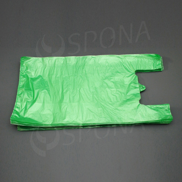 Mikrotenová taška HDPE, nosnost 15 kg, zelená, 33 + 20 x 69 cm, 100 ks