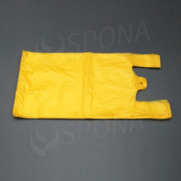 Mikrotenová taška HDPE, nosnost 15 kg, žlutá, 33 + 20 x 69 cm, 100 ks