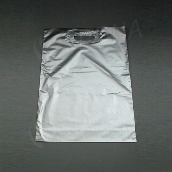 Igelitová taška LDPE 35 x 50 + 5 cm, stříbrná