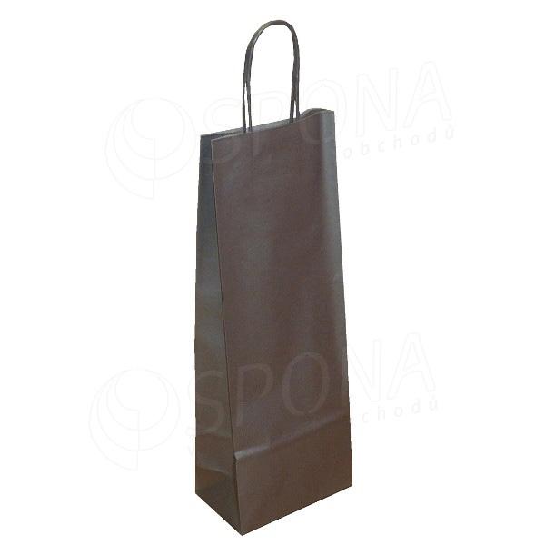 Papírová taška na víno 14 x 9 x 39 cm, stříbrná