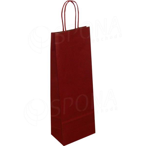 Papírová taška na víno 14 x 9 x 39 cm, tmavě červená