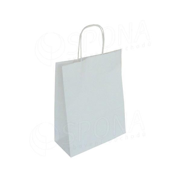 Papírová taška PASTELO, 22+10 x 29 cm, 100 gr., bílá