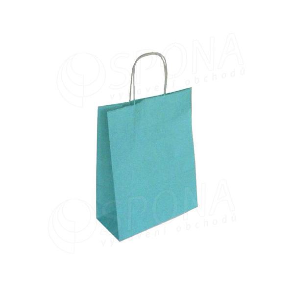 Papírová taška PASTELO, 27+12 x 37 cm, 100 gr., tyrkysová