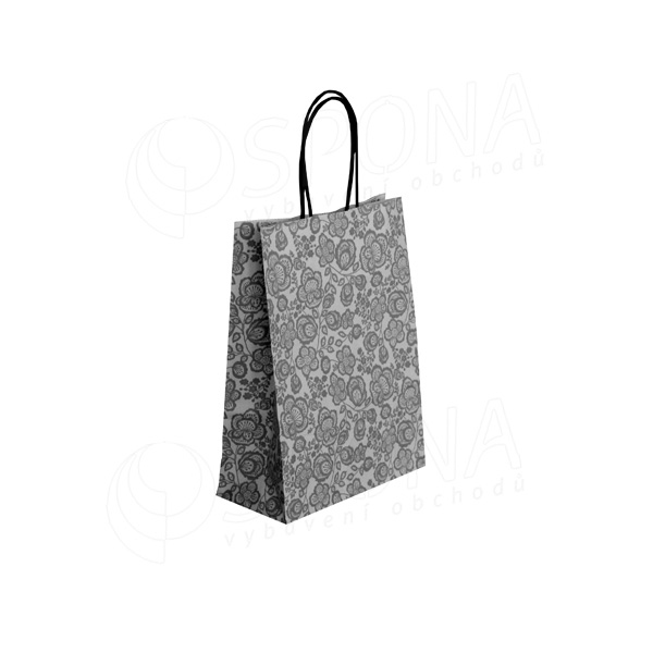 Taška papírová FLORA, 18 + 8 x 24 cm, 100 gr., šedá