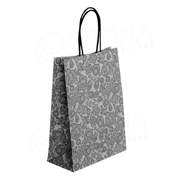 Papírová taška FLORA, 36 + 12 x 41 cm, 100 gr., šedá
