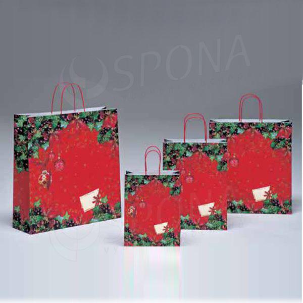 Papírová taška STELLA, 36 x 12 x 41 cm, vánoční vzor