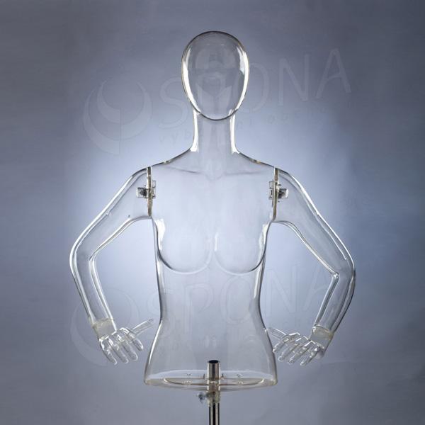 Torzo dámské s rukama a hlavou EKO 01, transparentní