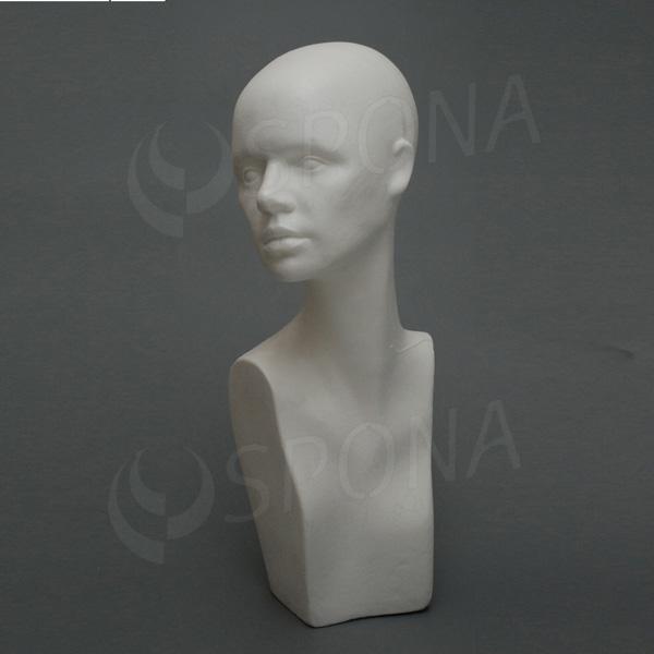 Hlava dámská IRA vysoká, polystyren, bílá