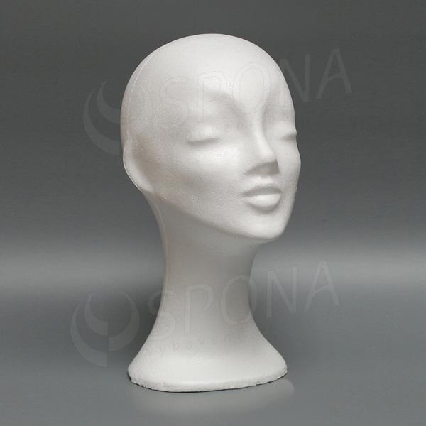 Hlava dámská DEKOR vysoká, polystyren, bílá