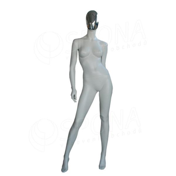 Figurína dámská CHROM 300, matná bílá, maska chrom