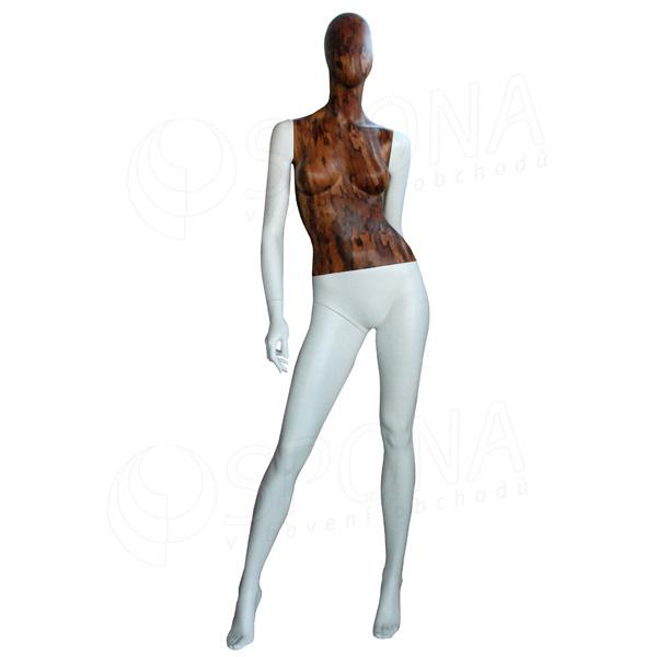 Figurína dámská WOOD 311, matná bílá, dřevěný dekor