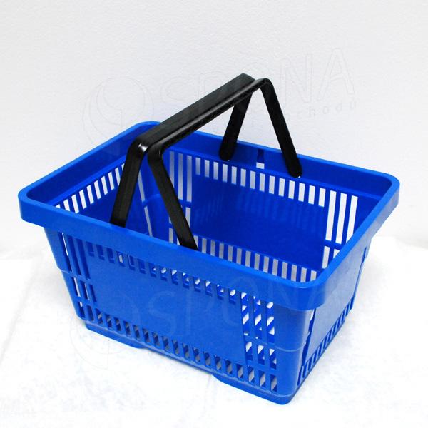 Košík nákupní se dvěma rukojeťmi, modrý plast