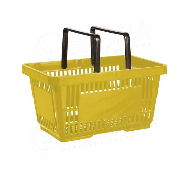 Nákupní košík se dvěma rukojeťmi, žlutý plast