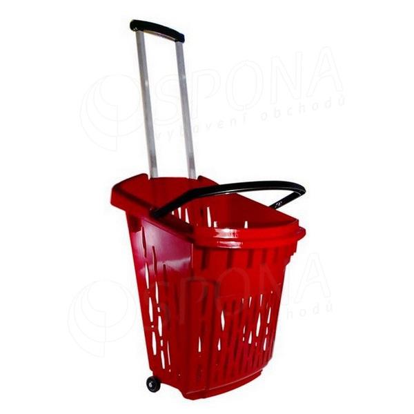 Košík nákupní na kolečkách, objem 38 litrů, červený plast