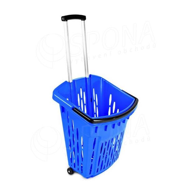 Košík nákupní na kolečkách, objem 38 litrů, modrý plast
