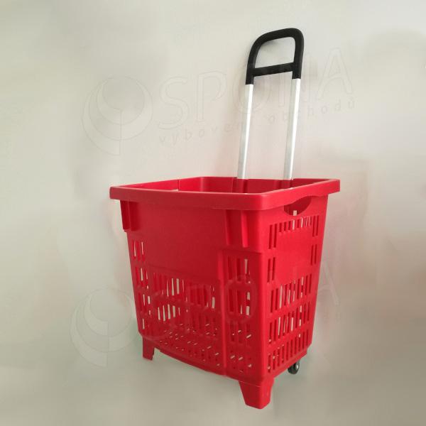 Košík nákupní na kolečkách, objem 62 L, červený plast AC