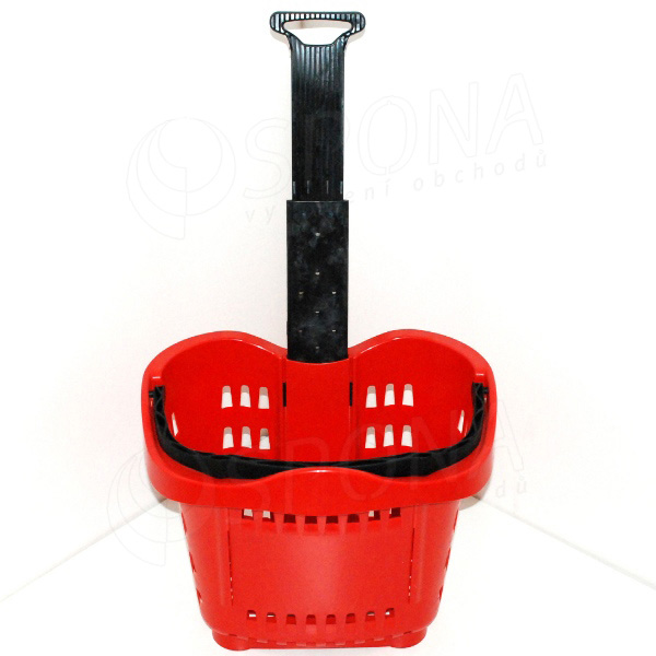 Košík nákupní na kolečkách, objem 43 L, červený plast