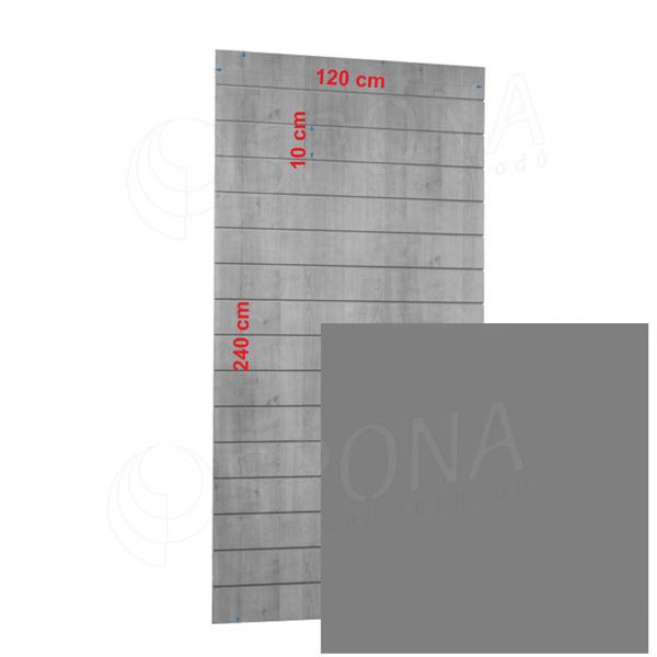SLAT panel 120 x 240 cm, 23 drážek v rozteči 10 cm, bez insertů, stříbrný