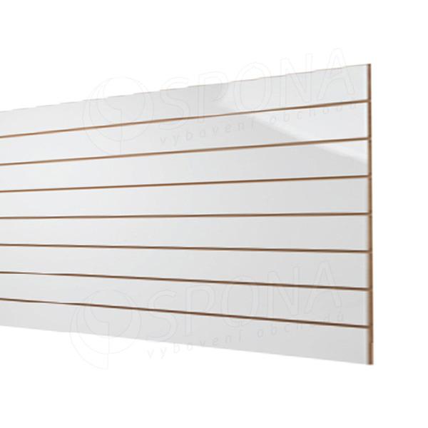 SLAT panel 240 x 120 cm, rozteč 10 cm, terminal, bez insertů, vysoký lesk bílý (white)
