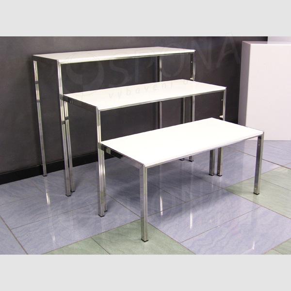 Stolek výstavní 950 x 400 x 780 mm, chrom, bílá LTD