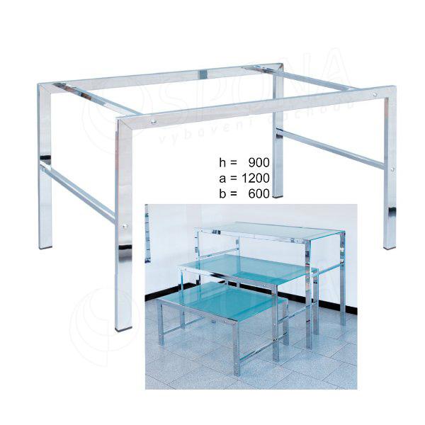 Stolek LASER 900 x 1200 x 600 mm, chrom, matné sklo 8 mm