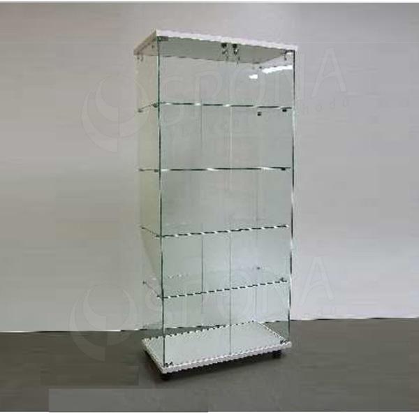 Vitrína Easy 80, sklo + LTD bílá, 77 x 40 x 171 cm