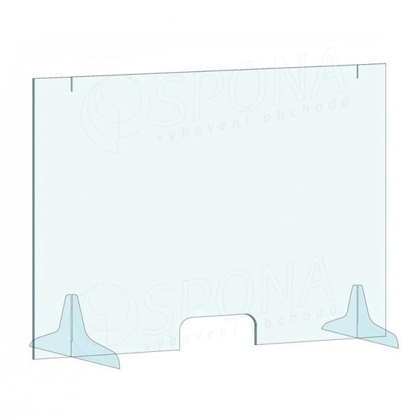 Ochranná přepážka na pult, 1000 x 800 mm, transparentní