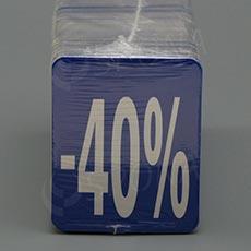 """Visačky SKONTO 45 x 55 mm, """"-40%"""" číslo, barevné, 250 ks"""