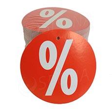 Visačky SKONTO KRUH 80 mm, PROCENTO %, červené, 80 ks