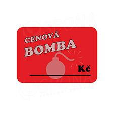 """Cenovky DREAMER 75 x 52 mm, """"CENOVÁ BOMBA"""", červené, 100 ks"""