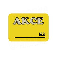 """Cenovky DREAMER 75 x 52 mm, """"AKCE"""", žluté, 100 ks"""
