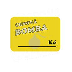 """Cenovky DREAMER 105 x 75 mm, """"CENOVÁ BOMBA"""", žluté, 50 ks"""