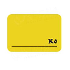 """Cenovky DREAMER 105 x 75 mm, """"Kč"""", žluté, 50 ks"""