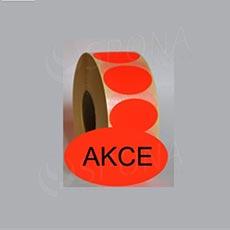 """Samolepící etikety Elipsa 70 x 40 """"AKCE"""", červené, 1.000 ks"""