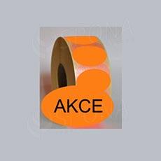 """Samolepící etikety Elipsa 70 x 40 """"AKCE"""", oranžové, 1.000 ks"""